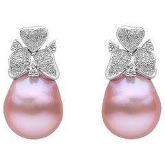 Yoko London Pink Freshwater Pearl and Diamond Earrings in 18 Karat White Gold