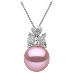 Yoko London Pearl and Diamond Pendant in 18 Karat White Gold