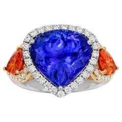 Tivon 18 Carat two tone Gold AAAA Tanzanite, Mandarin Garnet & fine Diamond Ring
