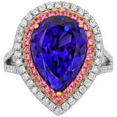 Tivon 18 Carat Two-Tone Gold AAAA+ Tanzanite, Pink Sapphire and Diamond Ring