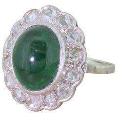 Retro 7.61 Carat Cabochon Emerald and Rose Cut Diamond Cluster Ring