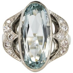 4.20 Carat Aquamarine Diamonds 18 Karat White Gold Ring