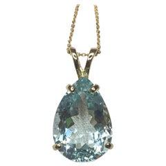 Large 8.85ct Blue Aquamarine Pear Teardrop Cut 14k Gold Pendant Necklace