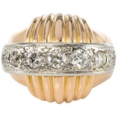 1950s Vintage Gadroons Diamond 18 Karat Yellow Gold Ring