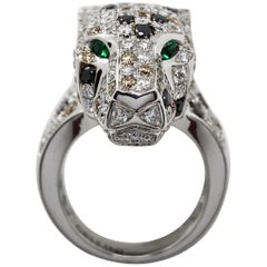 18 Karat White Gold and .55 Carat Diamond Panther Ring, Emerald Eyes