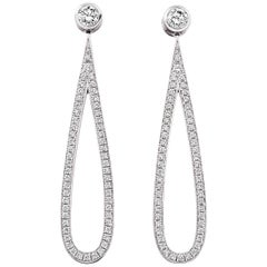 Lilly Hastedt 18 Karat White Gold Diamond Drop Loop Earrings