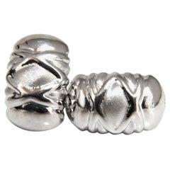 18 Karat Cross Wave Pattern Textured Clip Earrings