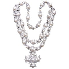 Van Cleef & Arpels Platinum Diamond and Pearl Cross Necklace