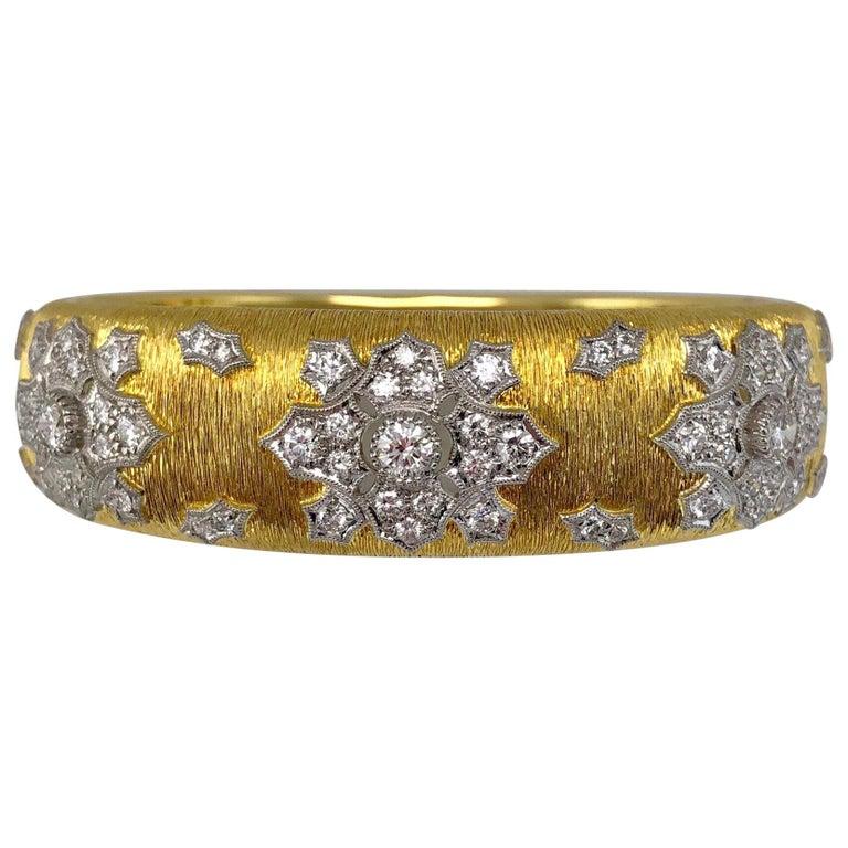 18 Karat Yellow Gold and Diamond Wide Bangle Bracelet