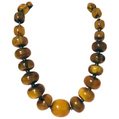 Large Vintage Amber Bead Necklace