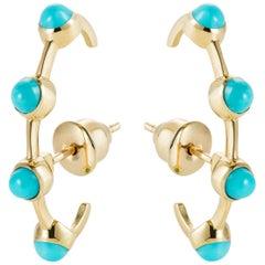 Round Stone Ear-Cuff Earrings in Turquoise in 18 Karat Yellow Gold