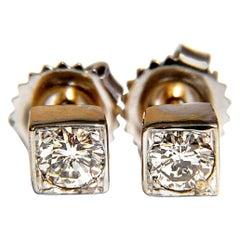 .70 Carat Natural Round Brilliant Diamond Stud Earrings 14 Karat