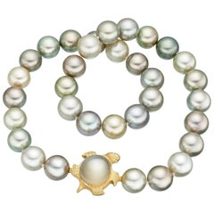 18 Karat Gold Tahiti Pearl Necklace with Moonstone Tortoise Clasp