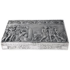 Antique Silver Hand Chased Box, Continental, circa 1900