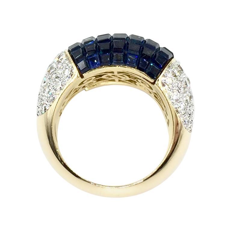 18 Karat Sapphire and Diamond Wide Cocktail Ring