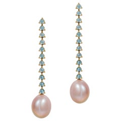 11 Stone Modern Minimalism Baroque Pearl Earrings, 18K Gold, Swiss Blue Topaz