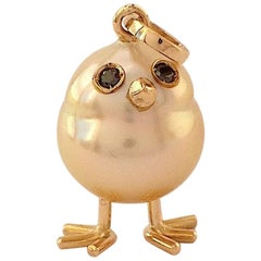 Baby Chick Australian Pearl Black Diamond Yellow 18Kt Gold Pendant/Necklace