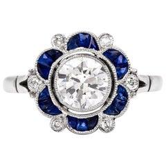 Sapphire Diamond Flower Platinum Engagement Ring