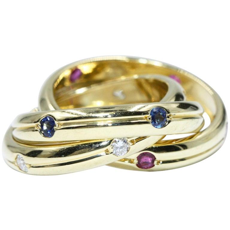 Cartier Yellow Gold Sapphire Diamond Trinity Ring