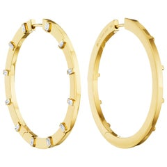 Cadar Sole Hoop, 18 Karat Yellow Gold and White Baguette Diamonds, Large