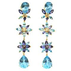 Stunning Blue Topaz, Amethyst and Diamond 18 Karat Gold Dangling Flower Earrings