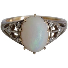 Art Deco 18 Carat Gold Diamond Opal Ring