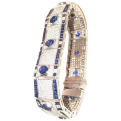 18 Karat Unique Ceylon Sapphire and Diamond Bracelet, 1998