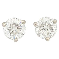 14KWG Round Brilliant Cut Diamond Stud Earrings GIA Certified I1-I2/H 1.40tcw