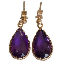 Vintage Gold Amethyst Teardrop Earrings London HM