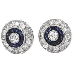 Diamond Sapphire Circular Stud Platinum Earrings