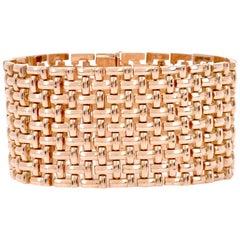 Vintage Wide T Link 14 Karat Rose Gold Bracelet