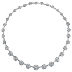 21.84 Carat Diamond Flower Necklace in 18 Karat White Gold