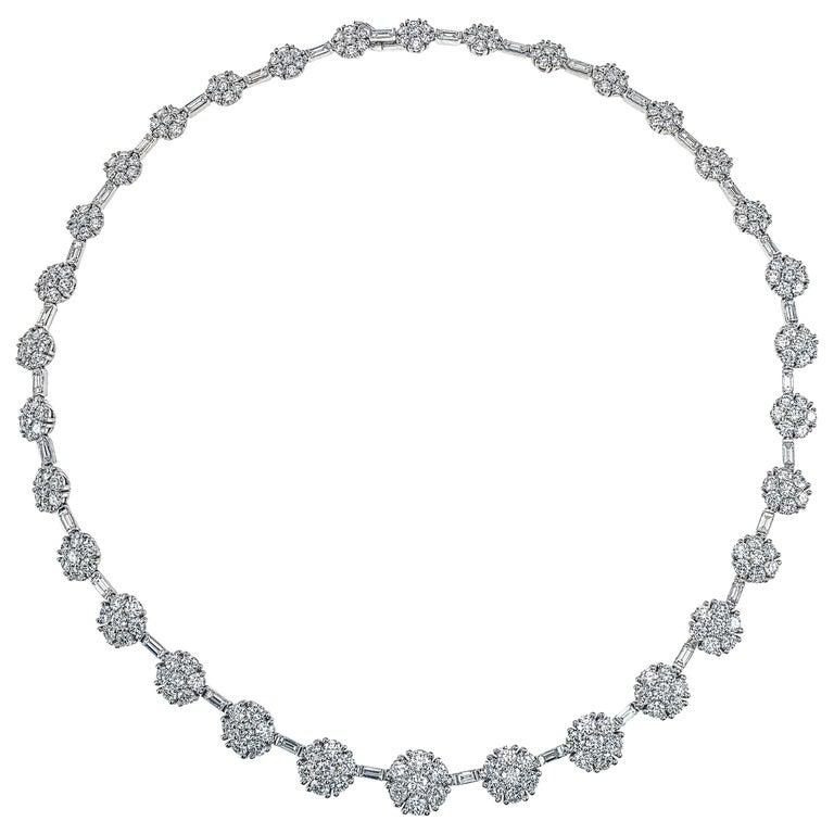 21.84 Carat Diamond Flower Necklace in 18 Karat White Gold For Sale