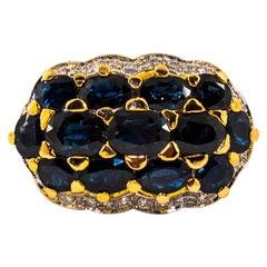 8.10 Carat Blue Sapphire 0.50 Carat White Diamond Yellow Gold Cocktail Ring