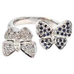 0.25 Carat Sapphire and Diamond 14 Karat White Gold Butter Fly Ring