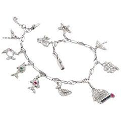 Vintage Nautical Diamond Sapphire Emerald Ruby Charm Bracelet