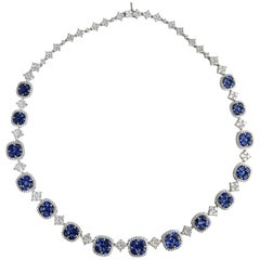 21.23 Carat Vivid Blue Sapphire and 12.04 Carat Diamond Necklace in White Gold