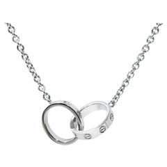 Cartier White Gold Two-Circle Love Necklace