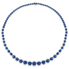 34.03 Carat Vivid Blue Sapphire and 6.89 Carat Diamond Necklace in White Gold