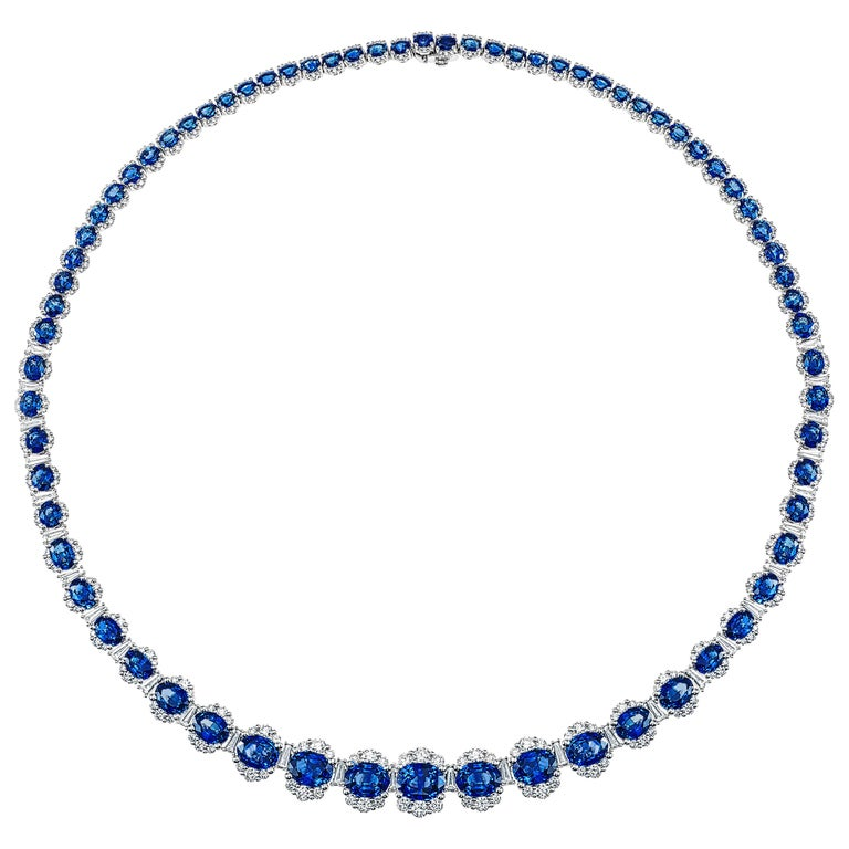 34.03 Carat Vivid Blue Sapphire and 6.89 Carat Diamond Necklace in White Gold For Sale