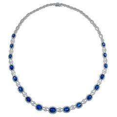 16.83 Carat Oval Cut Fine Sapphire and 10.39 Carat Diamond Necklace