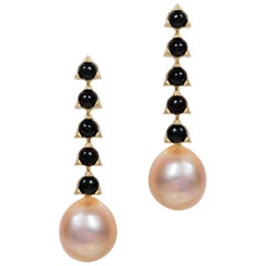5- 4mm Stone Baroque Peach/Violet Pearl Earrings, Black Onyx, 18 K Yellow Gold