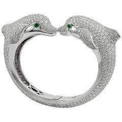 Cartier Diamond and Emerald Dolphin Bangle