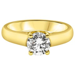 1.02 Carat Round Diamond Solitaire Engagement Ring in Yellow Gold