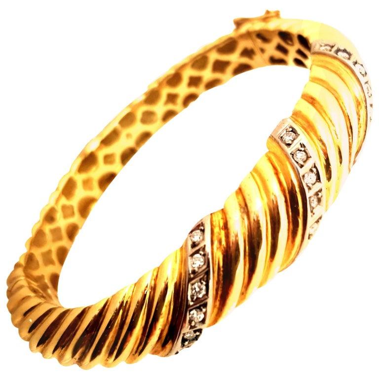 18 Karat Diamond Bangle Bracelet, 1970s