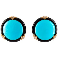 Renaissance Turquoise Onyx 0.20 Carat White Diamond Yellow Gold Clip-On Earrings