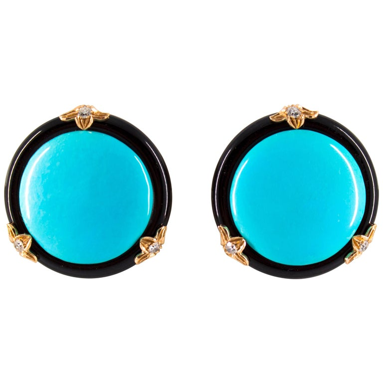 Renaissance Turquoise Onyx 0.20 Carat White Diamond Yellow Gold Clip-On Earrings For Sale