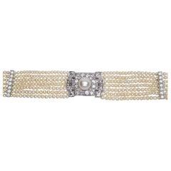 Art Deco 6.25 Carat Diamond and Platinum Pearl Strand Choker