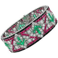 Art Deco Diamond, Ruby, Emerald and Onyx Bracelet