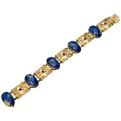 Belle Epoque Antique Lapis Lazuli Openwork Gold Bracelet